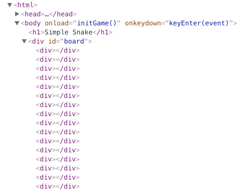 Screenshot of a very long list of div elements in the Chrome dev tools.
