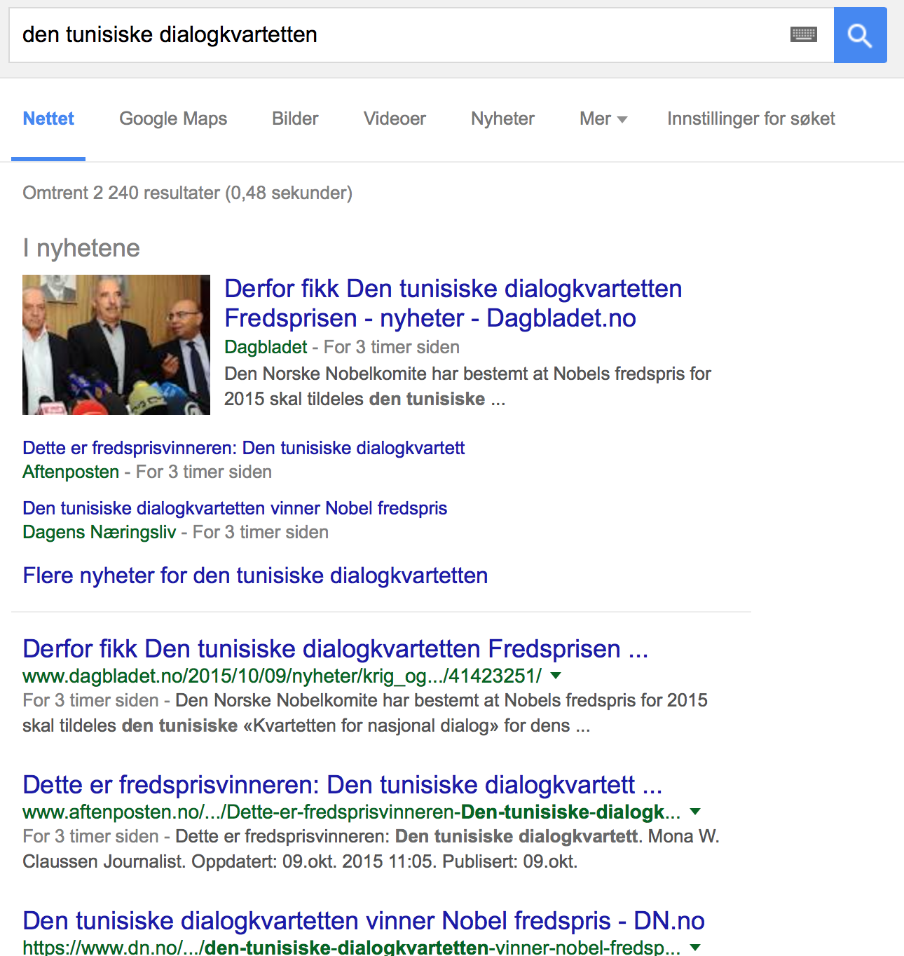 "Google results for ""Den tunisiske dialogkvartteten"" at 13:00 CET, 2240 results"