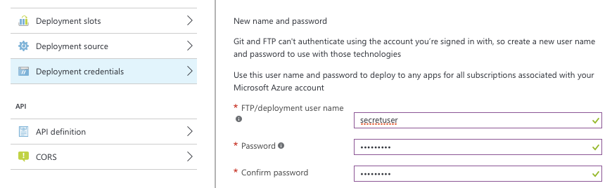 Azure git deployment setup, screenshot.